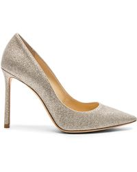 Jimmy Choo - Romy 100 Dusty Glitter Heels In Platinum Ice - Lyst