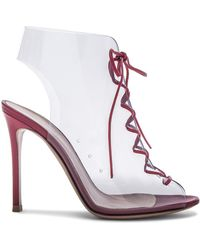 Gianvito Rossi | Leather & Plexi Helmut Lace Up Booties | Lyst