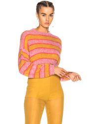 Alberta Ferretti - Striped Cropped Crewneck Jumper - Lyst