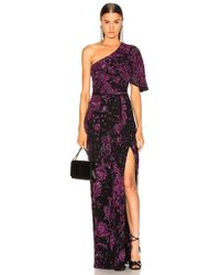 Zuhair Murad Patchwork Embroidery One Shoulder Gown - Purple