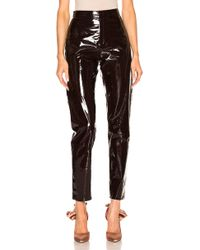 Zeynep Arcay - High Waisted Patent Leather Pants In Dark Plum - Lyst