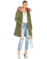 Mr & Mrs Italy - Army Quilted Canvas Parka With Raccoon Fur - Lyst