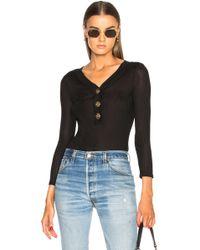 FRAME - Button Bodysuit In Noir - Lyst