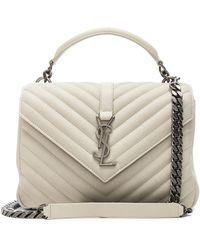 9d5206b8ba0 Saint Laurent Medium College Matelasse Leather Top Handle Bag in Brown -  Lyst