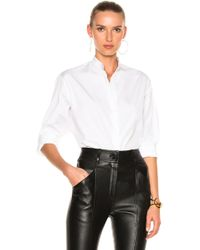 Victoria Beckham - Cotton Shirting Grandad Shirt - Lyst