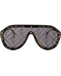 Fendi - Logo Face Sunglasses - Lyst