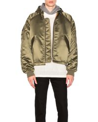 Fear Of God - Satin Hooded Bomber In Sage - Lyst