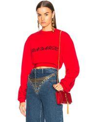Rodarte - Radarte La Embroidery Cropped Sweatshirt - Lyst