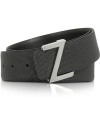 Ermenegildo Zegna - Black Embossed Leather Adjustable Belt - Lyst
