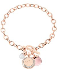 Rebecca - Hollywood Stone Rose Gold Over Bronze Chain Bracelet W/hydrothermal Pink Stone And Glass Pearl - Lyst