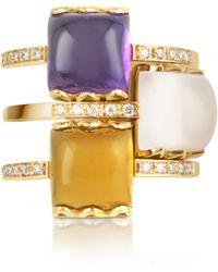 Mia & Beverly - Gemstone And Diamond 18k Rose Gold Ring - Lyst