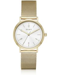 DKNY - Minetta Gold Tone Stainless Steel Mesh Women's Watch - Lyst
