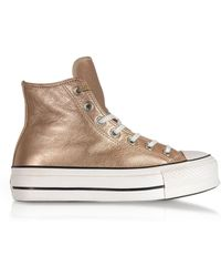 45c2031b036 Converse All Star Mid Lux Glitter Wedge Sneaker in Black - Lyst