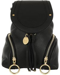 Lyst - See By Chloé Joy Rider Black Nylon Backpack in White 75108f71bf5ce