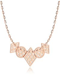 Rebecca | Melrose Rose Gold Over Bronze Necklace W/five Geometric Charms | Lyst