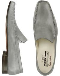 Pakerson - Gray Italian Handmade Leather Loafer Shoes - Lyst