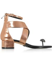 d48198c631c4 Balmain - Rose Gold Laminated Leather Juliet Flat Sandals - Lyst