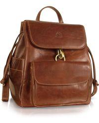 Chiarugi - Handmade Brown Genuine Leather Backpack - Lyst
