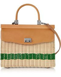 Rodo - Woven Wicker And Leather Top-handle Bag - Lyst