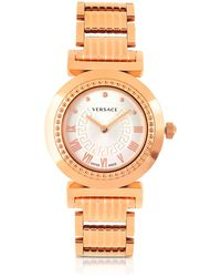 Versace - Vanity Lady Rose Gold Stainless Steel Women's Watch - Lyst