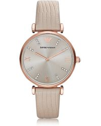 Emporio Armani - T-bar Rose Gold-tone Pvd Stainless Steel Women's Quartz Watch W/leather Strap - Lyst