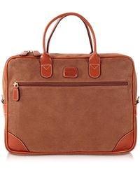Bric's - Life Camel Micro Suede Briefcase - Lyst