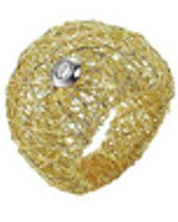 Orlando Orlandini - Arianna - 18k Gold Wide Ring W/ Round Diamond - Lyst