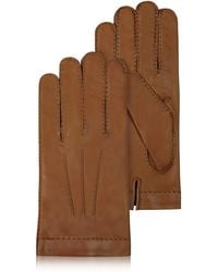 FORZIERI - Men's Cashmere Lined Brown Italian Leather Gloves - Lyst