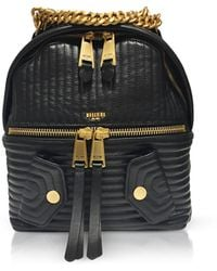 Moschino - Black Quilted Leather Backpack - Lyst