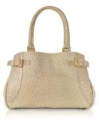 Fontanelli - Beige Grey Ostrich & Croco Embossed Leather Satchel Bag - Lyst