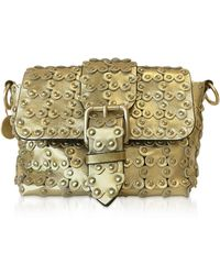 7e43ff6678 RED Valentino - Flower Puzzle Golden Leather Crossbody Bag - Lyst