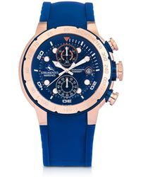 Strumento Marino - Saint-tropez Rose Gold Pvd Stainless Steel Men's Chronograph Watch W/blue Silicone Band - Lyst