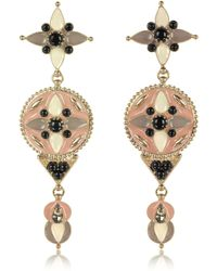 Roberto Cavalli - Gold-tone And Enamel W/multicolor Crystals Long Earrings - Lyst