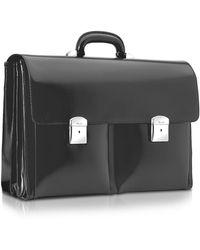 Pineider - 1949 - Black Calfskin Triple Gusset Briefcase - Lyst