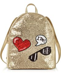 Love Moschino - Sparkling Metallic Gold Backpack - Lyst