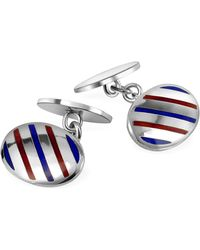 FORZIERI - Oval Striped Sterling Silver Double Sided Cufflinks - Lyst