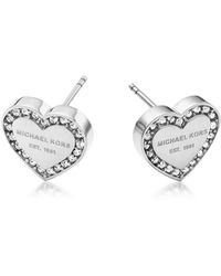 Michael Kors | Heritage Stainless Heart Earrings W/crystals | Lyst