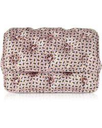 Benedetta Bruzziches - Floral Printed Pink Satin Silk Carmen Shoulder Bag - Lyst