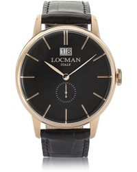 LOCMAN - 1960 Rose Gold Pvd Stainless Steel Men's Watch W/black Croco Embossed Leather Strap - Lyst