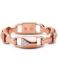 Michael Kors - 14k Rose Gold Plated Sterling Silver Pavé Mercer Link Ring - Lyst