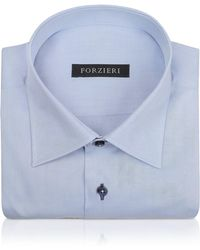 FORZIERI - Blue Twill Dress Shirt - Lyst