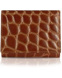 Giorgio Fedon - Spiga - Women's Brown Croc Stamped Calfskin Small Wallet - Lyst
