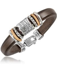 Tedora - Silver Band Leather Bracelet - Lyst
