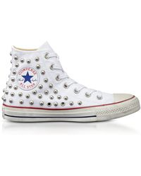 a7d2e5eea278 Converse - Chuck Taylor All Star High White Studded Canvas Snekakers - Lyst