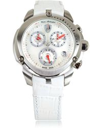 Tonino Lamborghini - Shield Lady Silver Tone Stainless Steel And White Croco Print Leather Chronograph Watch - Lyst