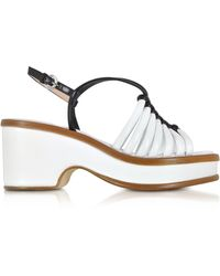 Rodo - Black And White Braided Leather Wedge Sandals - Lyst