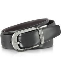Ermenegildo Zegna - Black Leather Reversible And Adjustable Belt W/silvertone Signature Buckle - Lyst