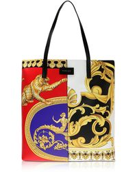 Versace - Pillow Talk Printed Leather Studded Tote Bag - Lyst