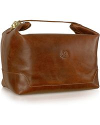 Chiarugi - Handmade Brown Genuine Italian Leather Toiletry Travel Case - Lyst