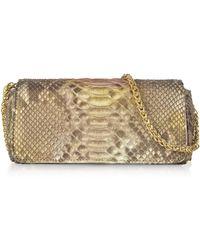 334b9e8b63 FORZIERI. Ghibli - Golden Python Leather Small Shoulder Bag - Lyst